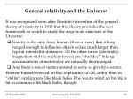 general relativity and the universe