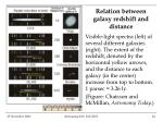relation between galaxy redshift and distance