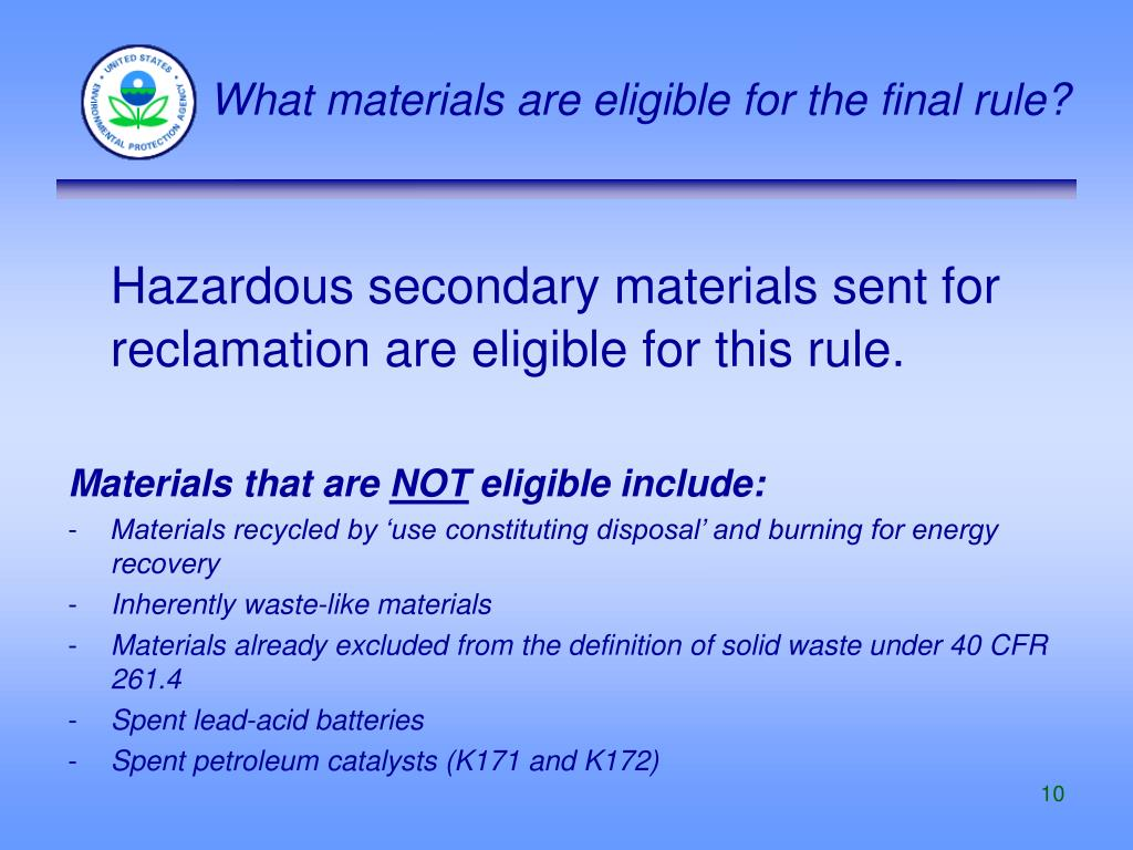 What materials are eligible for the final rule?