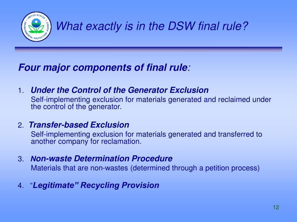 What exactly is in the DSW final rule?