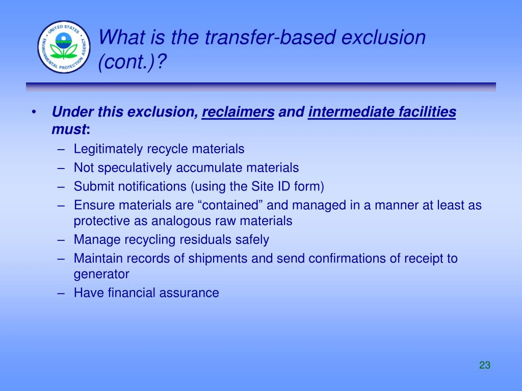 What is the transfer-based exclusion (cont.)?