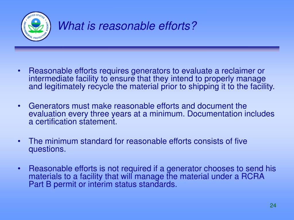 What is reasonable efforts?