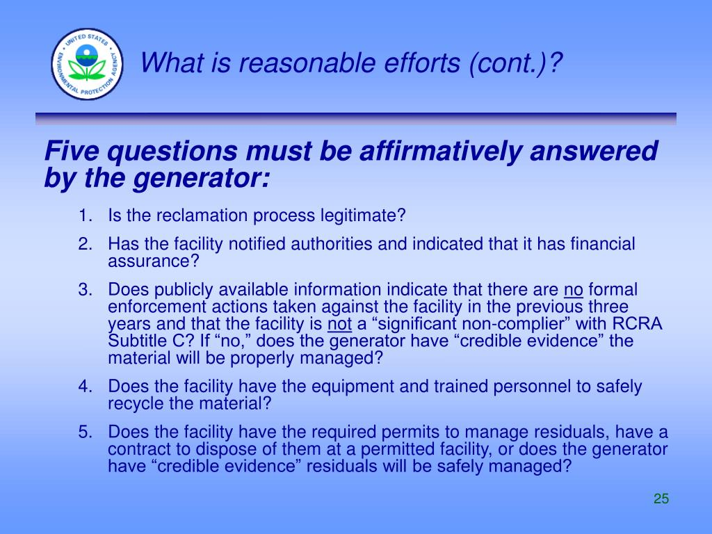What is reasonable efforts (cont.)?
