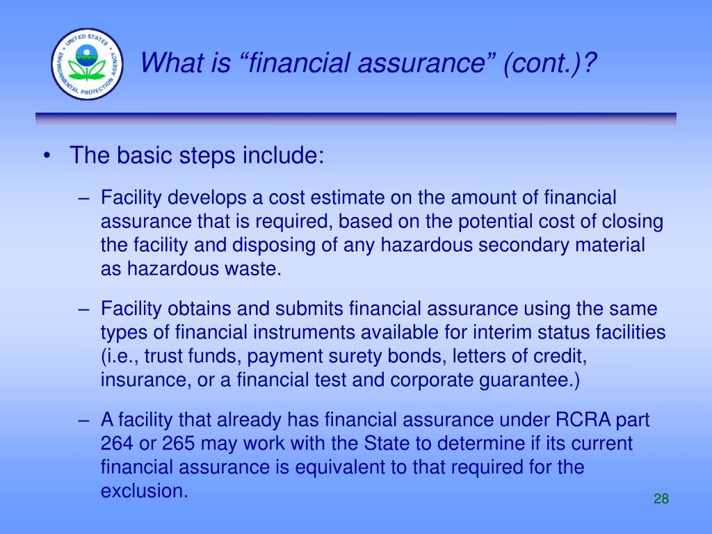 """What is """"financial assurance"""" (cont.)?"""