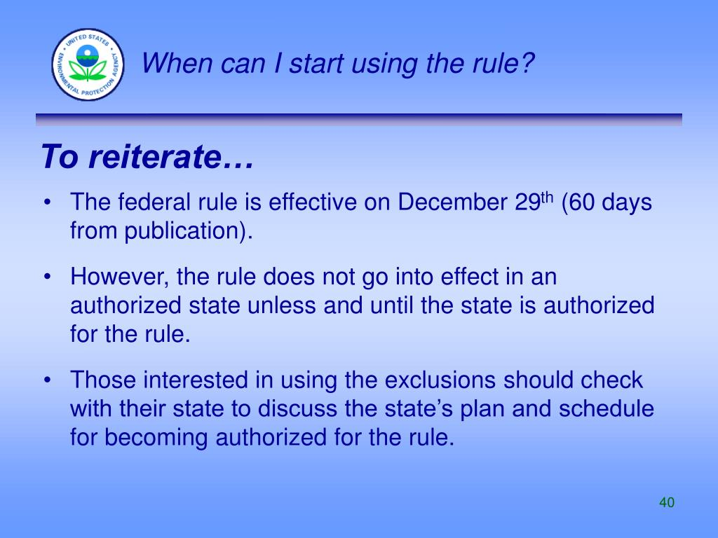 When can I start using the rule?