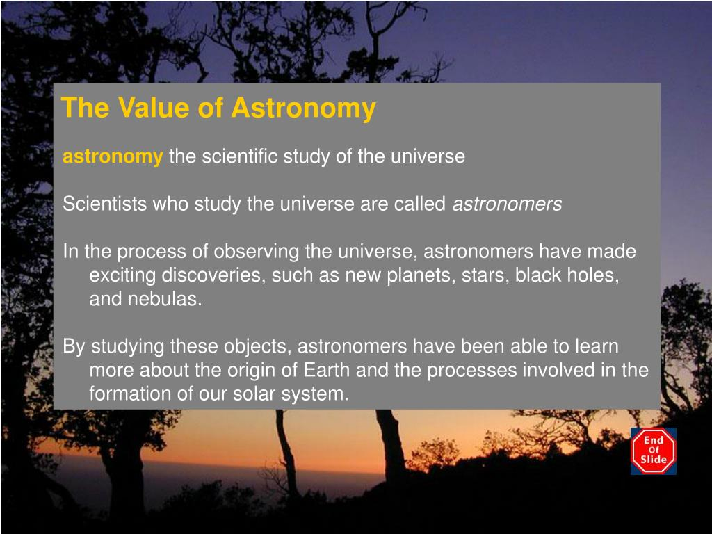 the value of astronomy l.