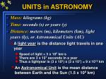 units in astronomy