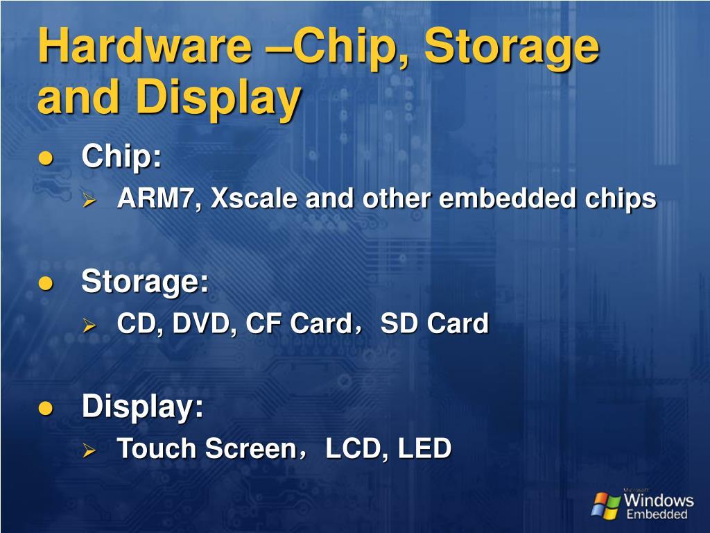 Hardware –Chip, Storage and Display