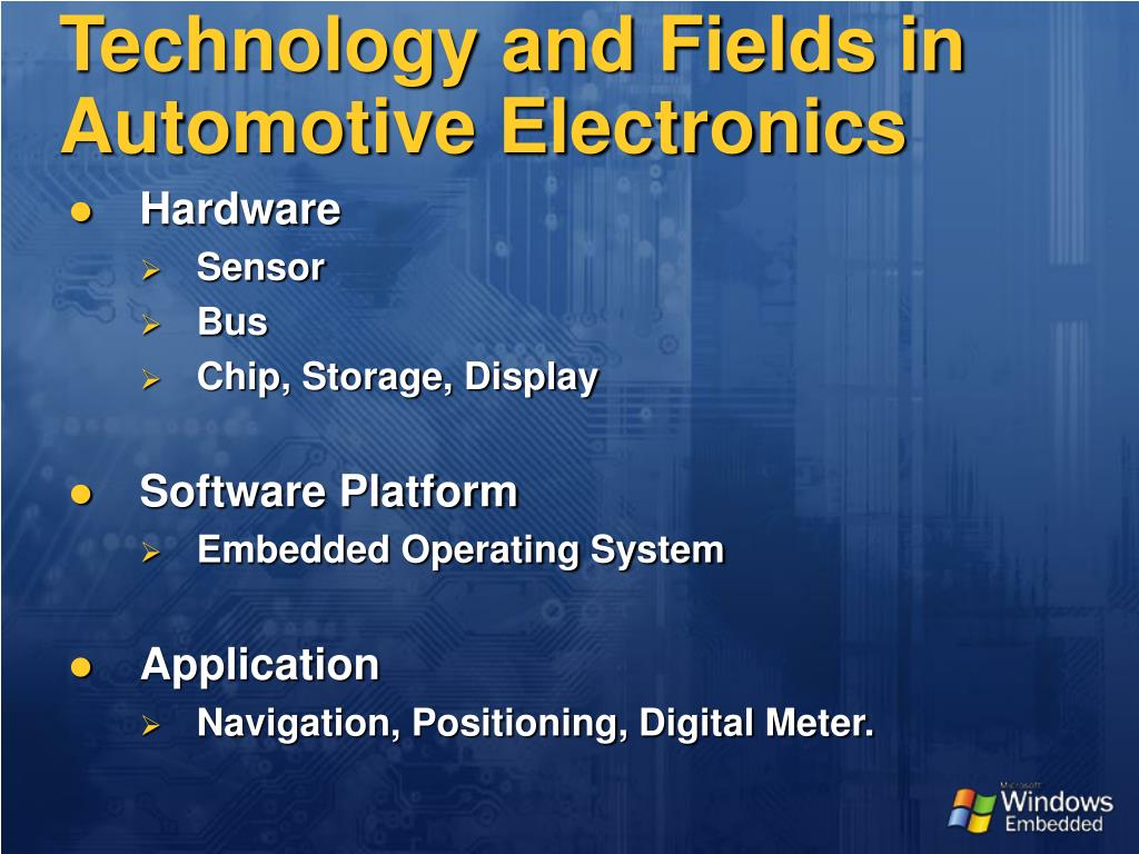 Technology and Fields in Automotive Electronics