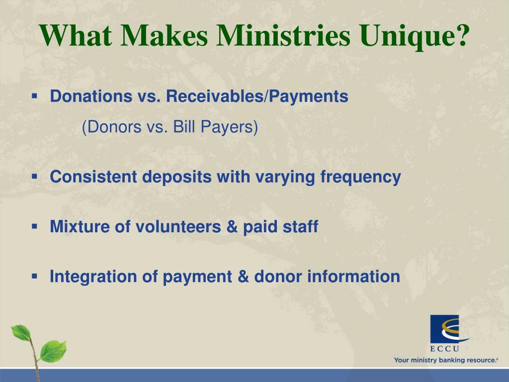 What Makes Ministries Unique?