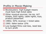 profits in movie making