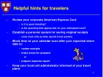 helpful hints for travelers