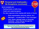personal and unallowable no exceptions continued