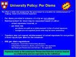 university policy per diems