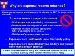 why are expense reports returned