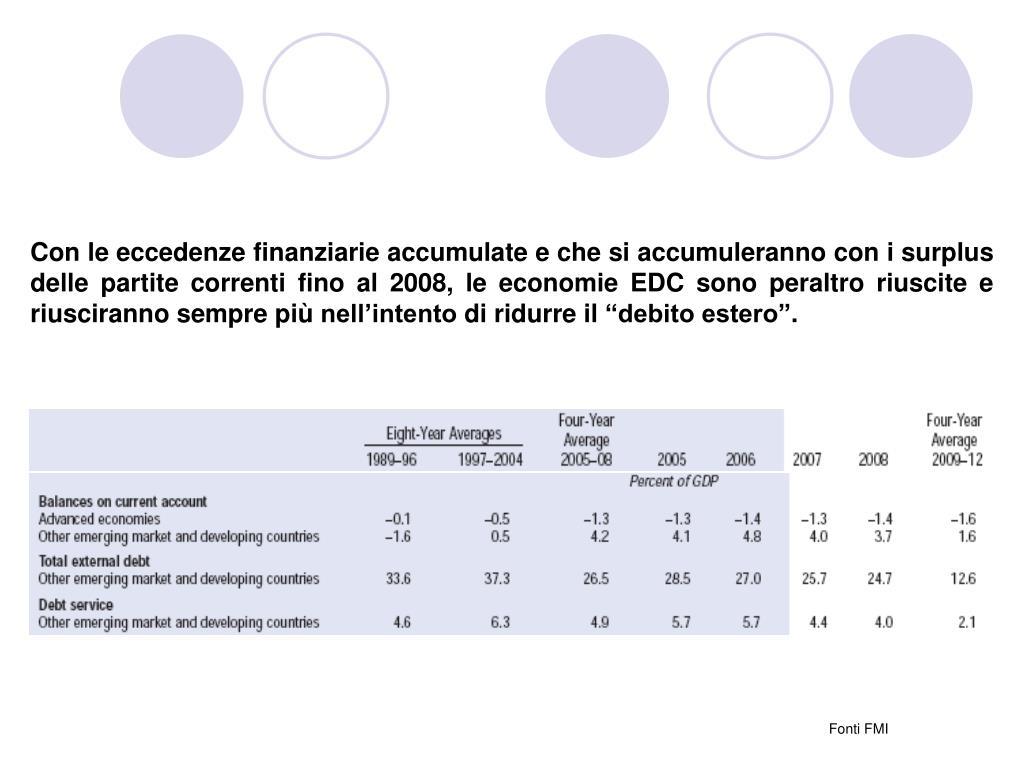 """Con le eccedenze finanziarie accumulate e che si accumuleranno con i surplus delle partite correnti fino al 2008, le economie EDC sono peraltro riuscite e riusciranno sempre più nell'intento di ridurre il """"debito estero""""."""