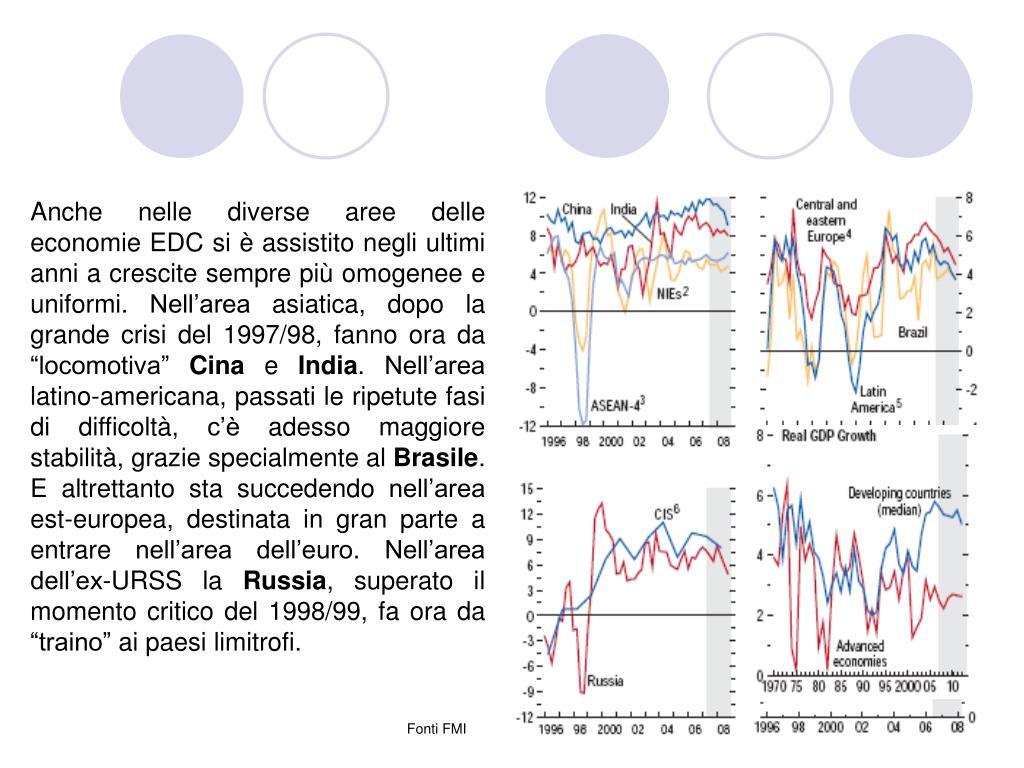 """Anche nelle diverse aree delle economie EDC si è assistito negli ultimi anni a crescite sempre più omogenee e uniformi. Nell'area asiatica, dopo la grande crisi del 1997/98, fanno ora da """"locomotiva"""""""