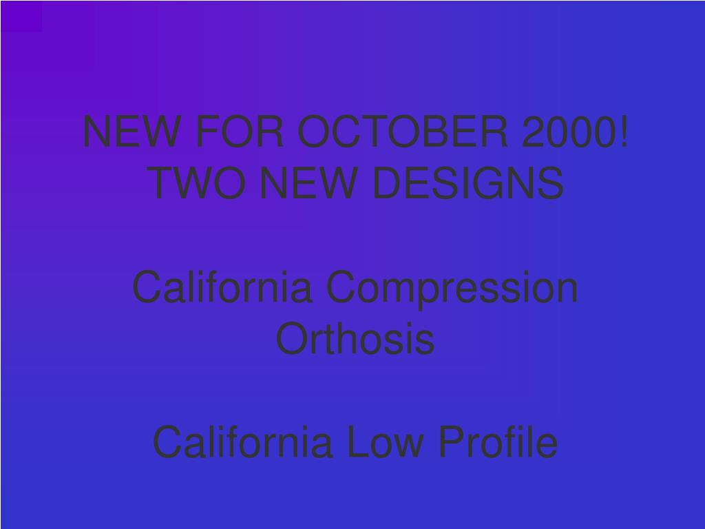 NEW FOR OCTOBER 2000!