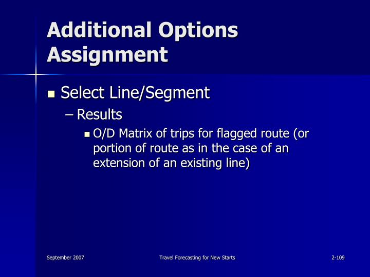 Additional Options Assignment