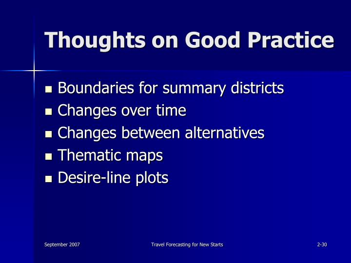 Thoughts on Good Practice