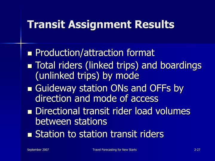 Transit Assignment Results