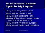 travel forecast template inputs by trip purpose