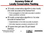 accuracy order of locally conservative tracking