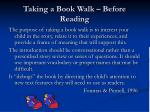 taking a book walk before reading