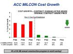 acc milcon cost growth
