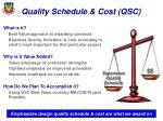 quality schedule cost qsc