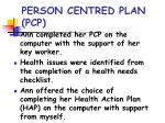 person centred plan pcp
