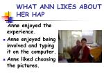 what ann likes about her hap