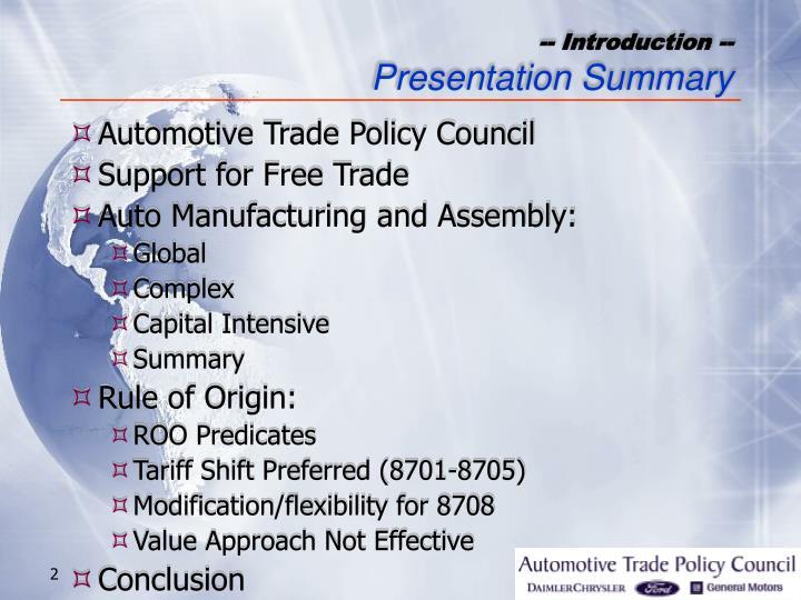 Introduction presentation summary