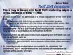 rule of origin tariff shift exceptions
