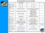 3d photography course schedule