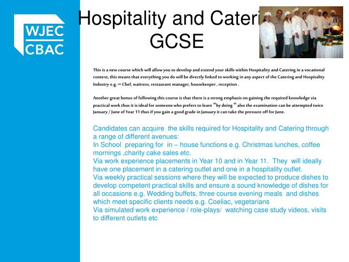 catering work experience coursework