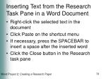 inserting text from the research task pane in a word document73