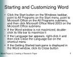 starting and customizing word