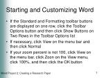 starting and customizing word7