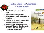 just in time for christmas by louise borden