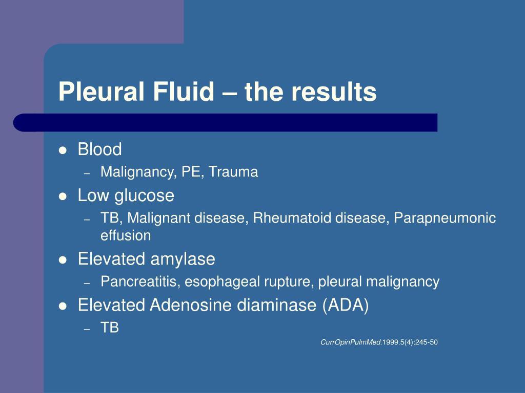 Pleural Fluid – the results