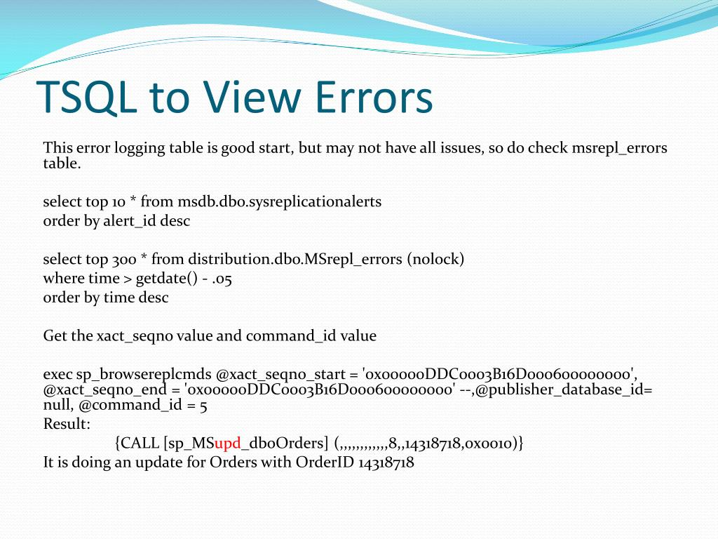 PPT - Replication Performance Tuning and Troubleshooting for SQL