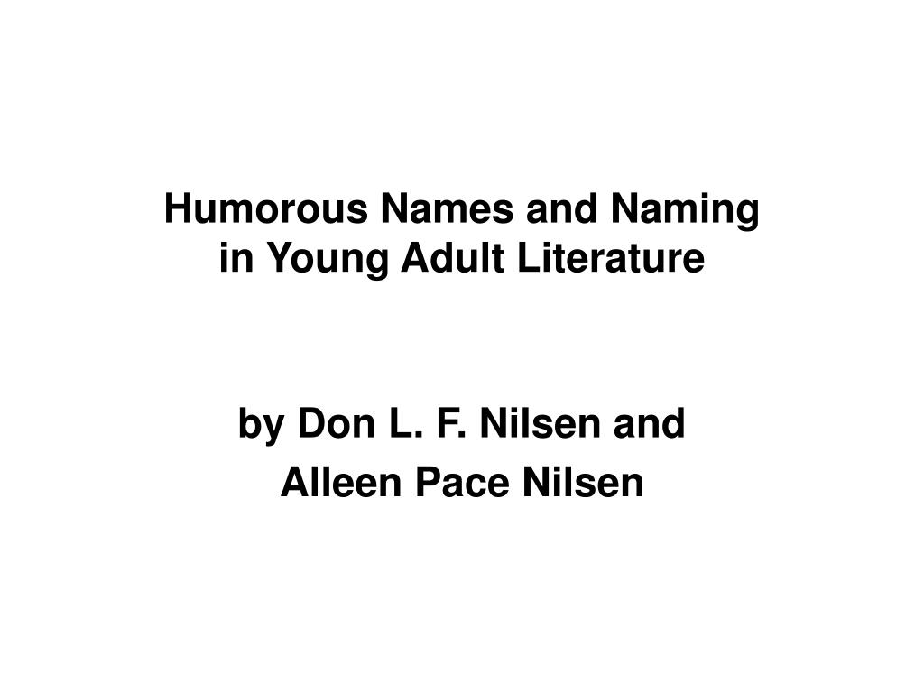 humorous names and naming in young adult literature l.