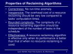 properties of reclaiming algorithms