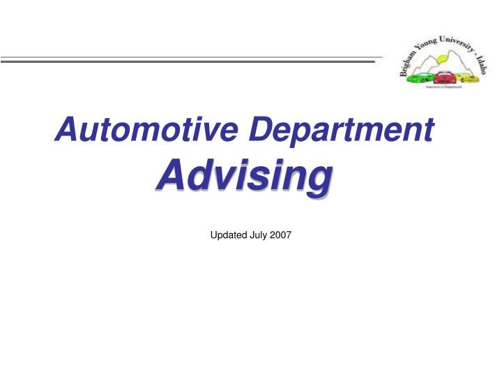 automotive department advising n.