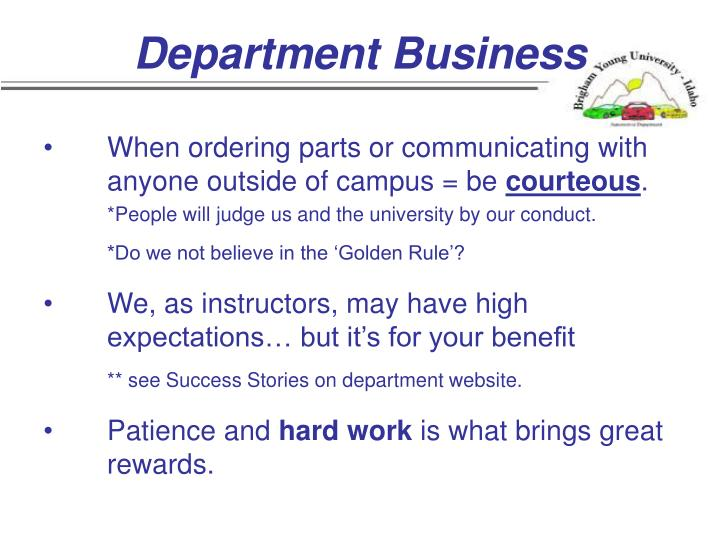 Department Business