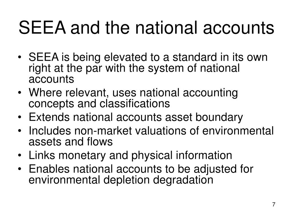 SEEA and the national accounts