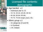 licensed file contents demographic