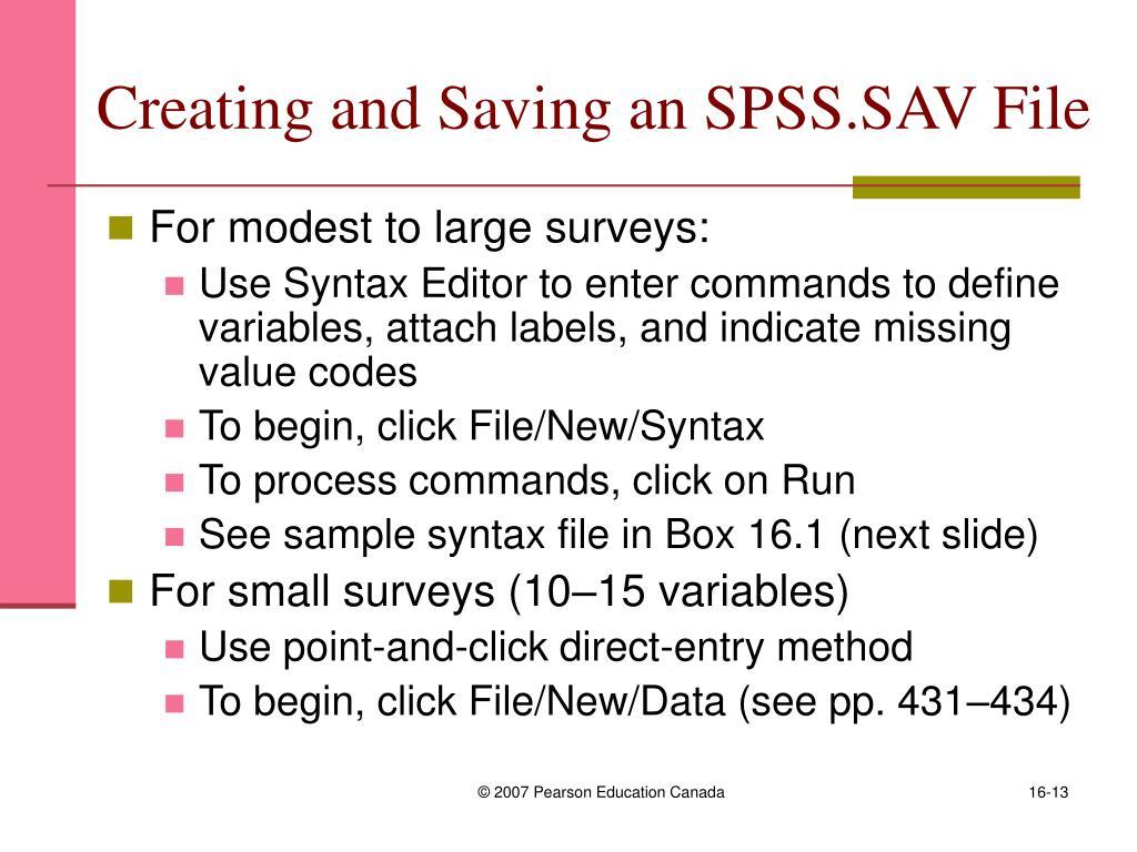 Creating and Saving an SPSS.SAV File