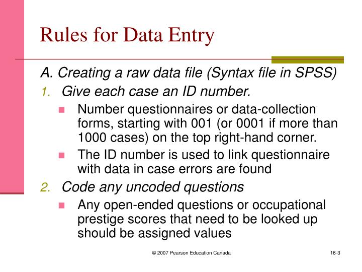 Rules for data entry
